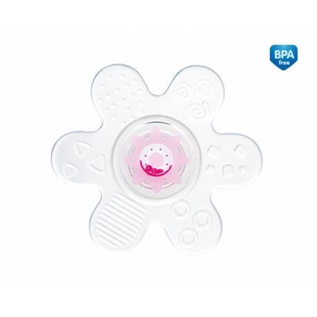 Hryzátko silikónové s hrkálkou - Hviezdička - ružová