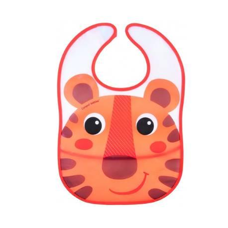 Plastový podbradník s vreckom Hello Little - oranžový