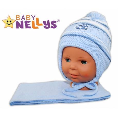 Zimná čiapočka s šálom - Autíčko - pruhy, sv. modré