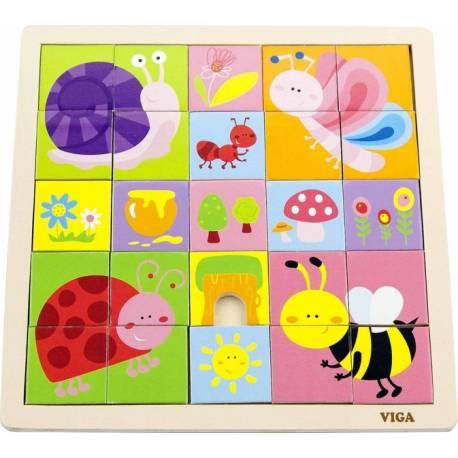Drevená mozaika Veselé chrobáčiky