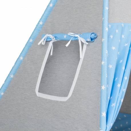 Stan pre deti teepee, típí bez výbavy - Hviezdy šedé a modré / svetlo modrý