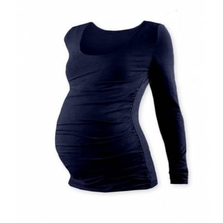 Tehotenské tričko JOHANKA s dlhým rukávom - tm. modrá