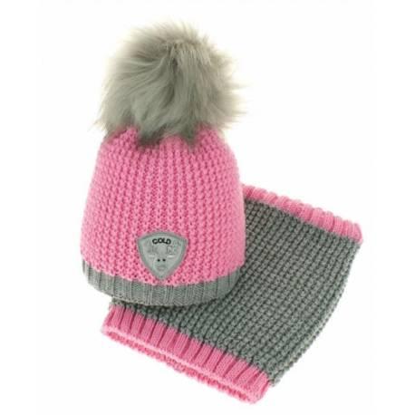 Jesenná/zimná čiapka s komínom - chlupáčková Bambulka - ružová/sivá