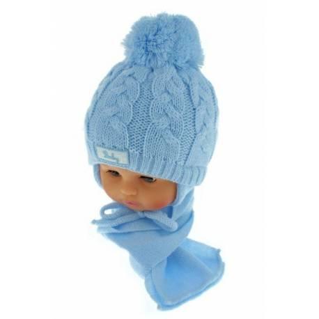 Zimná pletená čiapočka s šálom Baby Bear - modrá s brmbolcami