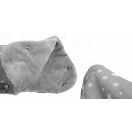 Rukávnik ku kočíku fleece - sivý s hviezdičkami