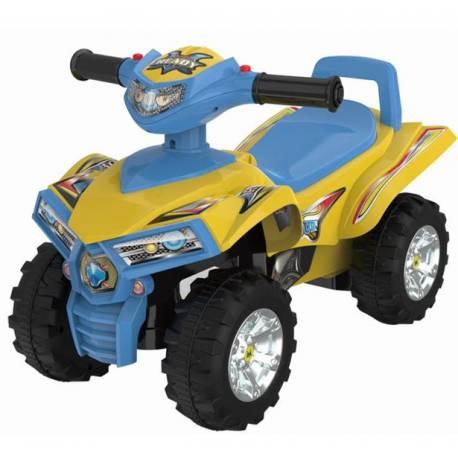 Detské odrážadlo, štvorkolka QUAD - žltá/modrá