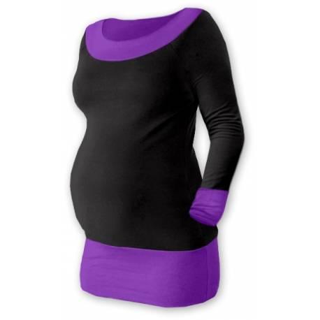 Tehotenská tunika DUO - čierna / fialová