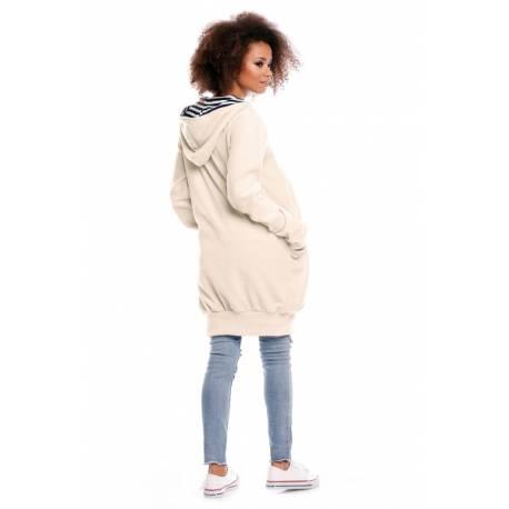 Tehotenská/dojčiaca mikina polar - krémová, veľ. XL