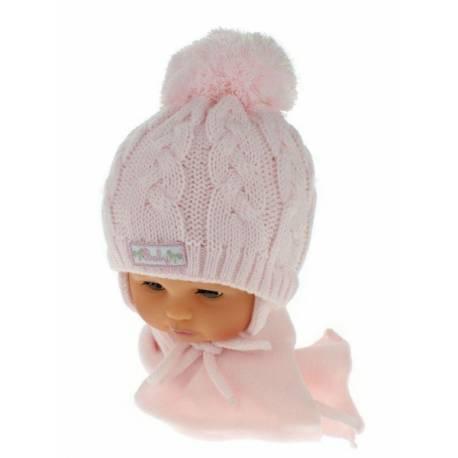 Zimná pletená čiapočka s šálom Baby Bear - ružová s brmbolcami