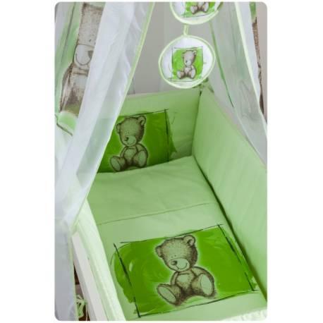 Drevená kolíska s plnou výbavou Sweet Dreams by Teddy - zelená