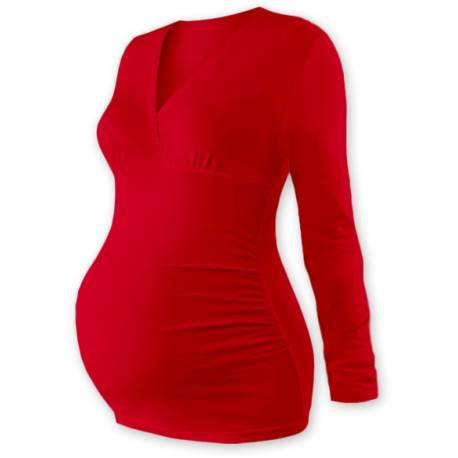 Tehotenské tričko / tunika dlhý rukáv - červené
