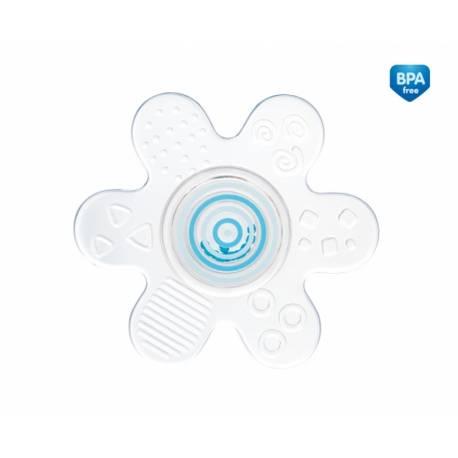 Hryzátko silikónové s hrkálkou - Hviezdička - modrá