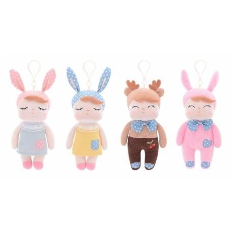 Mini handrová bábika Metoo s uškami a klipom, źlté šaticky, 19cm