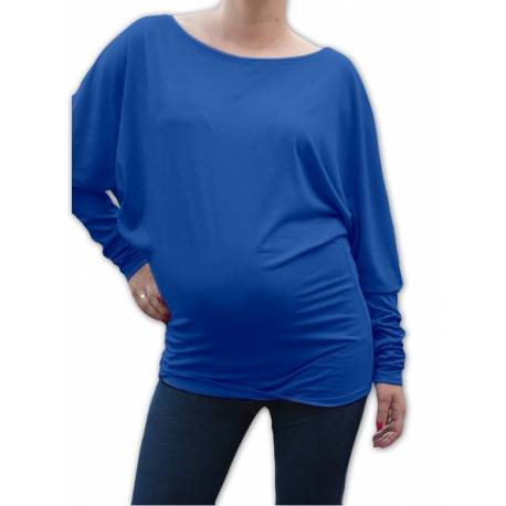 Symetrická tehotenská tunika - tm. modrý atrament