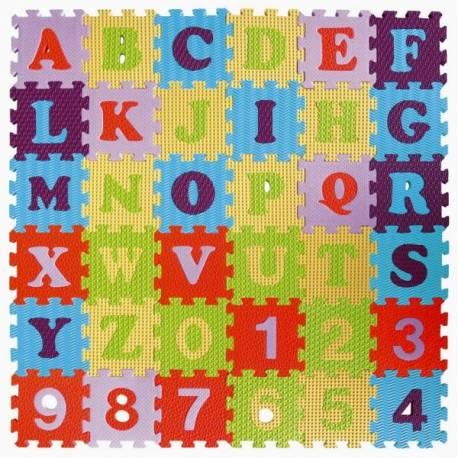 Penové puzzle abeceda a čísla - mix farieb