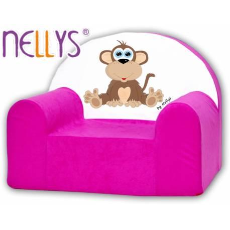 Detské kresielko / pohovečka Nellys ® - Opička Nellys ružová