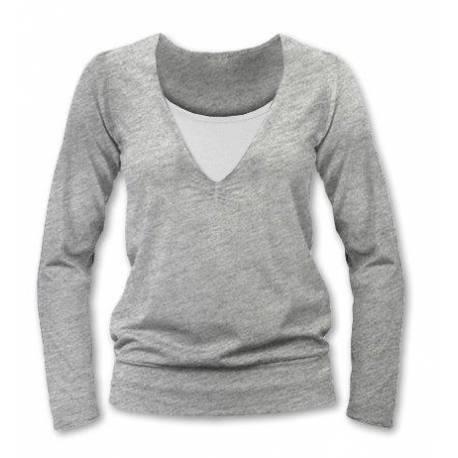 Dojčiace, tehotenské tričko Julie dl. rukáv - sivý melír