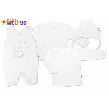 4-dielna dojčenská sada Baby Nellys ® Medvedík srdiečko, veľ. 68 - biela