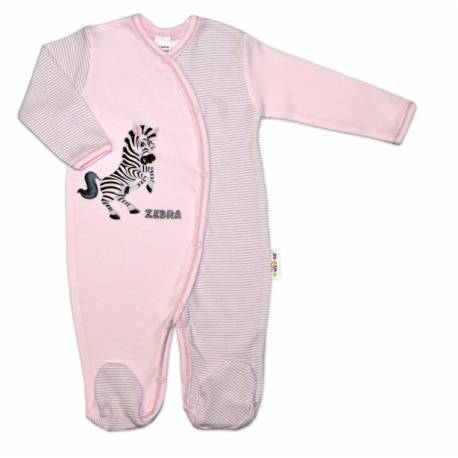 Bavlnený overal Zebra, veľ. 68 - ružová prúžky