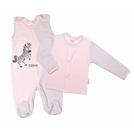 2-dielna dojčenská sada Zebra, veľ. 68 - ružová