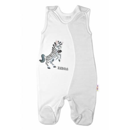 Dojčenské bavlnené dupačky, Zebra - biele, veľ. 74