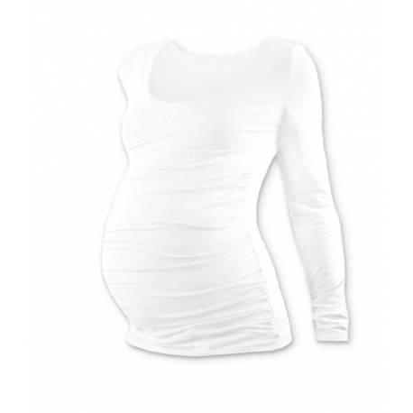 Tehotenské tričko Johanka s dlhým rukávom - biela