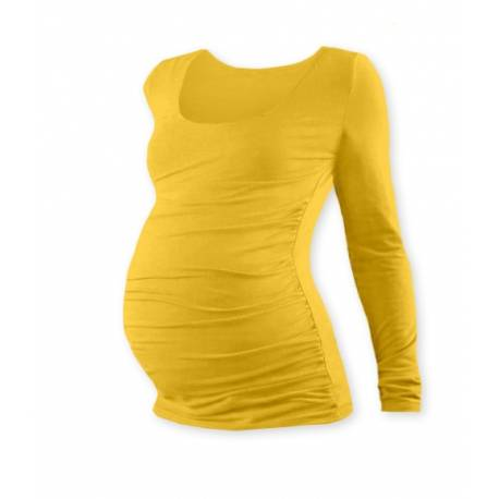 Tehotenské tričko JOHANKA s dlhým rukávom - žltooranžová
