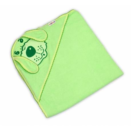 Detská osuška Psík s kapucňou - zelená