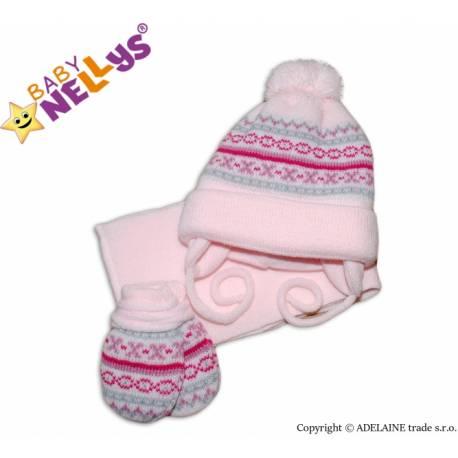 Sada - čiapočka, šál a rukavičky - vzorovaná ružová