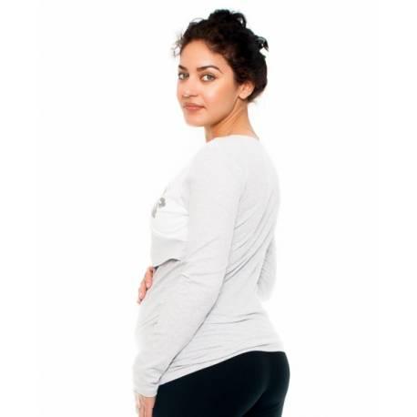 Tehotenské a dojčiace triko -kvety, dlhý rukáv, šedo/biele, veľ. S