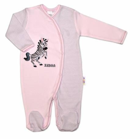 Bavlnený overal Zebra, veľ. 74 - ružová prúžky