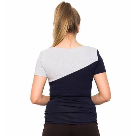 Tehotenské a dojčiace triko Jane - granát/šedá