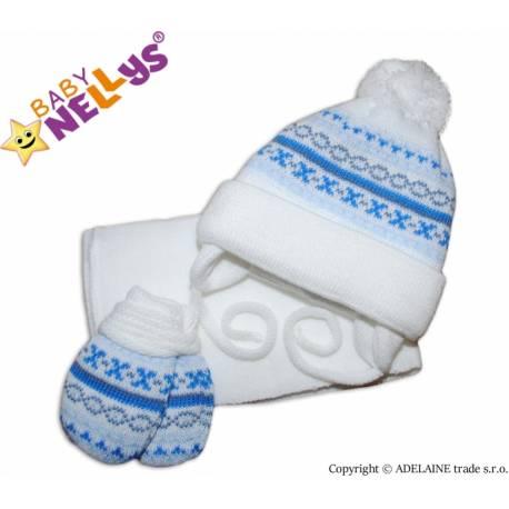 Sada - čiapočka, šál a rukavičky - vzorovaná biela