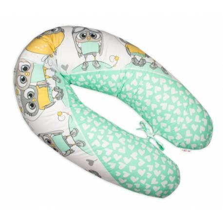 Dojčiace vankúš - relaxačná poduška Multi Cute Owls - zelený