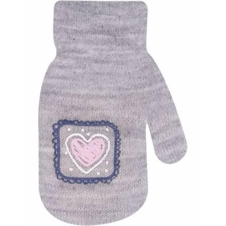 Dievčenské akrylové rukavičky oteplené YO - so šnúrkou, sivé, veľ. 12 cm
