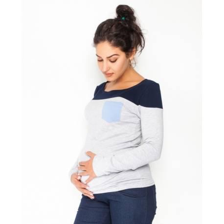 Tehotenské tričko / blúzka dlhý rukáv Anna, veľ. XL - sivý melír