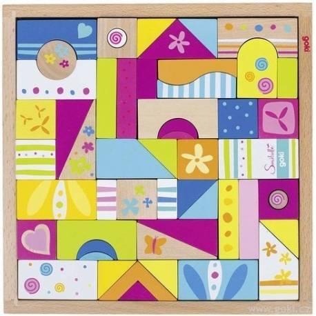 Drevené kocky, mozaika Susibelle 53 ks