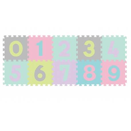 Penové puzzle Čísla - 10ks, pastelové