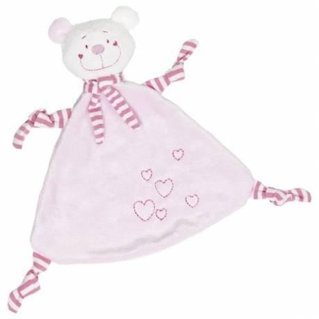Muchláček Medvedík so srdiečkami - ružový
