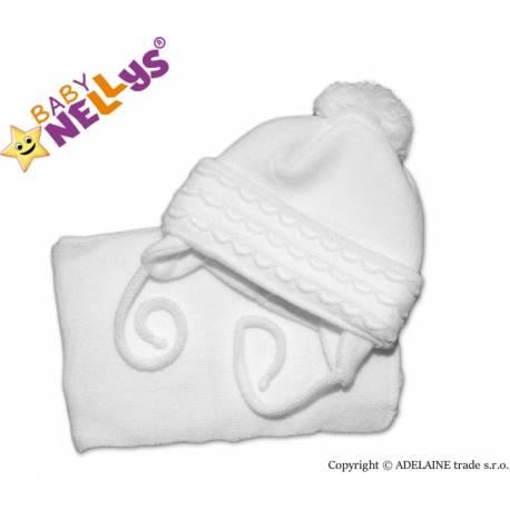 Zimná čiapočka s šálom - s imitáciou volánikmi - biela