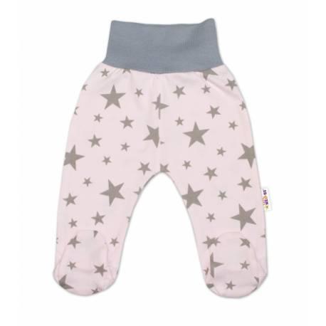 Bavlnené dojčenské polodupačky Baby Nellys ® - růžové, hviezdičky - sivé, veľ. 68