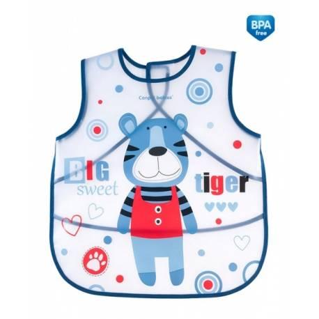 Plastový zásterka s vreckom Puppets - modrá