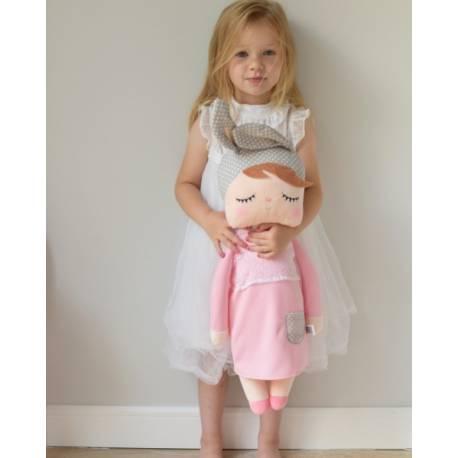 Handrová bábika Metoo XL s uškami v růžových šatičkách, 70cm