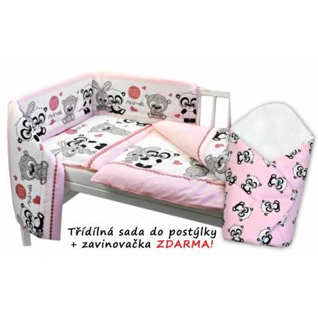 3-dielna sada mantinel s obliečkami + zavinovačka zadarmo, Cute Animals - ružová