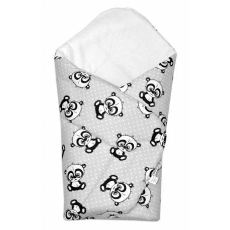 3-dielna sada mantinel s obliečkami + zavinovačka zadarmo - Baby Panda, sivá