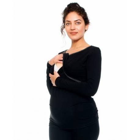 Tehotenské a dojčiace triko Aldona, dlhý rukáv, čierne, veľ. M