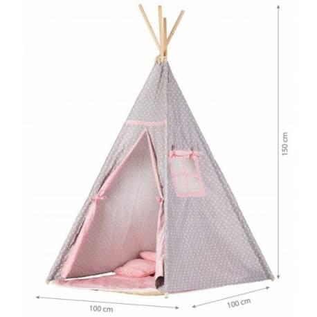 Stan pre deti teepee, típí s výbavou - sv. sivá s ružovo, bodkami