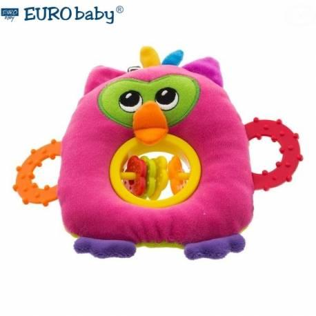 Plyšová hračka s hryzátkom a hrkálkou - Malá sova - ružová