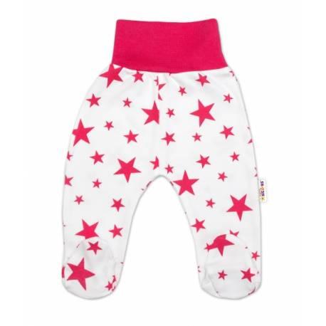 Bavlnené dojčenské polodupačky Baby Nellys ® - biele, hviezdičky - malinové