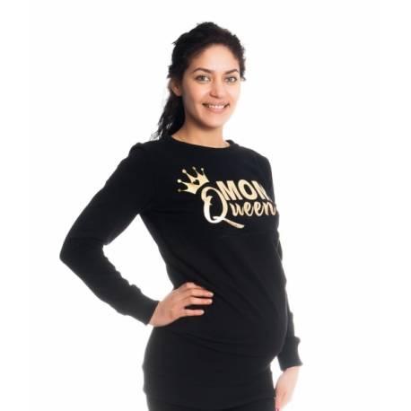 Tehotenské a dojčiace triko/mikina Mom Queen, dlhý rukáv, čierna